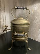 Brass English Spirit Kettle With Burner Stand Signed And Dated 1801