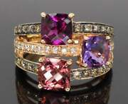 Nwt 4375 Le Vian Diamond Ring With Amethyst Pink Tourmaline 14k Rose Gold
