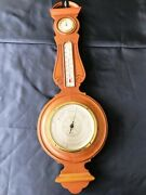 """Antique Airguide Banjo Style Wall Barometer/thermometer/hydrometer, 26"""", Lt Wood"""
