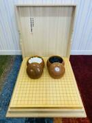 Go Board Table Japanese Kaya Wood W/ Go Stones And Cases Set Japanese Board Game