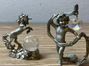 Mini Pewter Figurines Lot Unicorn And Angel With Crystal 1992 Bt