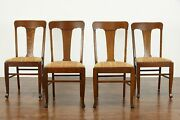 Arts And Crafts Mission Oak Set Of 4 Antique Dining, Office Chairs, Murphy 37401