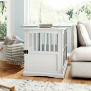 Large Dog Pet Crate End Table Furniture Wood White Family Room Bedroom New