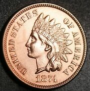 1874 Indian Head Cent -with Liberty And Near 4 Diamonds - Choice Au+ Details