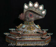 15 Old Tibet Silver Wire Crystal Inlay Gem Conch Shell Trumpet Horn Statue