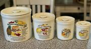 Calif Usa Recipe Pottery Cannisters. Eight Piece Set. Excellent Condition. Rare.