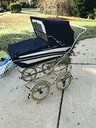 Vintage Italian Perego Baby Carriage/pram Blue Made In Italy