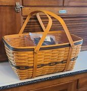 Longaberger Collectors Club Family Picnic Basket With Liner And 2 Piece Protector