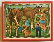 Vintage Farm Animal 6-sided Cube Wooden Puzzle Made In West Germany