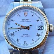 Auth Tudor Watch Roman K18 Oyster Date Just Combi Ref.72033 Case34.95mm