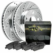 Fits Ford Country Squire Custom 500 Front Drill Slot Brake Rotors+ceramic Pads