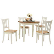 5 Pieces Wood Dining Table Set 4 Chairs Kitchen Table W/folding Tabletop Home