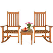 3 Pcs Eucalyptus Rocking Chair Set W/coffee Table And 2 Wood Conversation Chairs