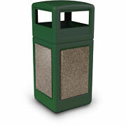 Commercial Zone Stonetec 42 Gallon Square Receptacle With Dome Lid Forest Green