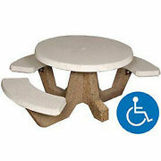 42 Round Ada Picnic Table With 3 Benches Concrete