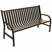 Slatted Metal Bench Brown 5and039l