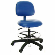 Esd-safe Vinyl Clean Room Stool With Drag Chain, Blue