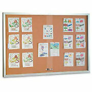United Visual Products 72w X 48h Sliding Glass Door Corkboard With Satin