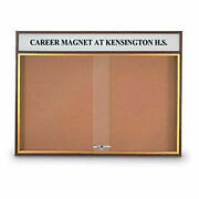 United Visual Products 96w X 36h Sliding Door Corkboard With Header And Walnut