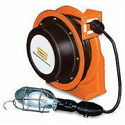 Industrial Duty Cord Reel With Incandescent Hand Lamp, 16/3c X 70' Cable,