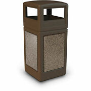 Commercial Zone Stonetecand174 42 Gallon Square Receptacle With Dome Lid Brown