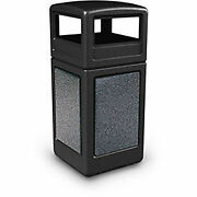 Commercial Zone Stonetec Square Receptacle With Dome Lid 42 Gallon Black