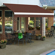 Awntech Retractable Awning Manual 14and039w X 10and039d X 10h Burgundy/tan