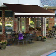 Awntech Retractable Awning Manual 14and039w X 10and039d X 10h Brown