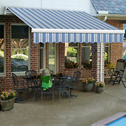 Awntech Retractable Awning Manual 12and039w X 10and039d X 10h Blue/white