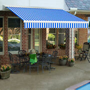 Awntech Retractable Awning Manual 16and039w X 10and039d X 10h Blue/white