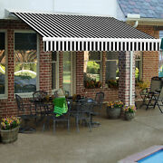 Awntech Retractable Awning Manual 16and039w X 10and039d X 10h Black White