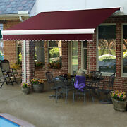 Awntech Retractable Awning Manual 14and039w X 10and039d X 10h Burgundy