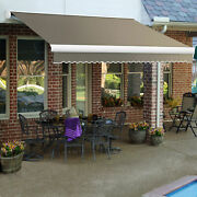 Awntech Retractable Awning Manual 14and039w X 10and039d X 10h Taupe