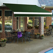 Awntech Retractable Awning Manual 14and039w X 10and039d X 10h Forest Green