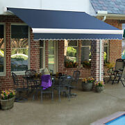 Awntech Retractable Awning Manual 14and039w X 10and039d X 10h Dusty Blue