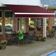 Awntech Retractable Awning Manual 16and039w X 10and039d X 10h Burgundy