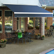Awntech Retractable Awning Manual 16and039w X 10and039d X 10h Dusty Blue