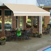Awntech Retractable Awning Manual 14and039w X 10and039d X 10h Linen/white