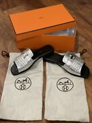 Authentic Sold Out Hermes Goatskin/plated Andldquohandrdquo Sandal 35