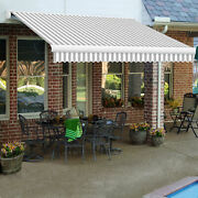 Awntech Retractable Awning Manual 14and039w X 10and039d X 10h Gray/white