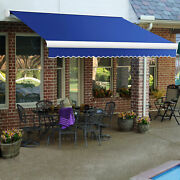 Awntech Retractable Awning Manual 8and039w X 7and039d X 10h Bright Blue