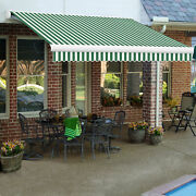 Awntech Retractable Awning Manual 14and039w X 10and039d X 10h Forest Green/white