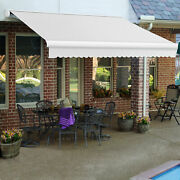 Awntech Retractable Awning Manual 14and039w X 10and039d X 10h Off White