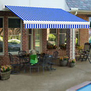 Awntech Retractable Awning Manual 14and039w X 10d X 10h Bright Blue/white