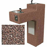 Concrete Outdoor Drinking Fountain Bi-level Ada Accestainless Steelible Red
