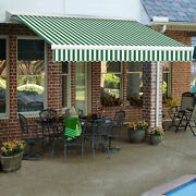 Awntech Retractable Awning Manual 14and039w X 10h X 10and039d Forest Green/white