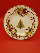 Royal Albert England Old Country Roses Christmas Tree Bread And Butter Plates - 8