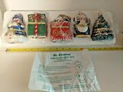 New Lot Of 5 Mr Christmas Porcelain Animated Hinged Music Boxes