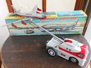 Airplane Towing Car Tinplate Toy Nomura Toy From Japan