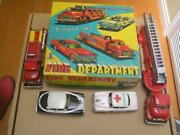 Sss Japan Tin Fire Department Station Set Of 5 Fire Ambulance Police Cars Exib